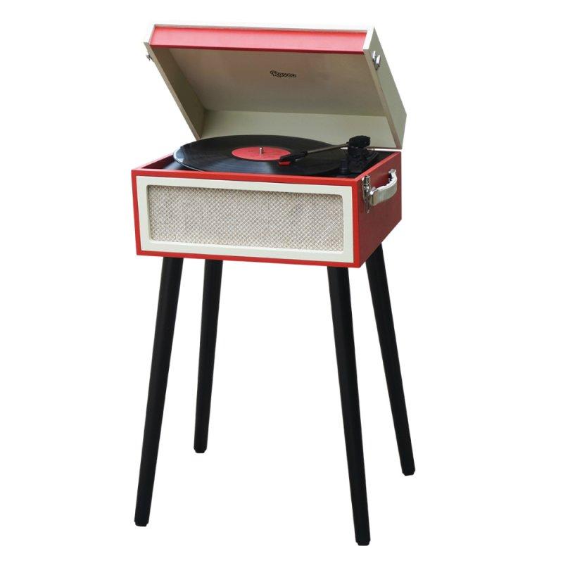 Toca Discos Raveo Arena Vermelho Bivolt 10 Watts com Entrada USB e Gravação