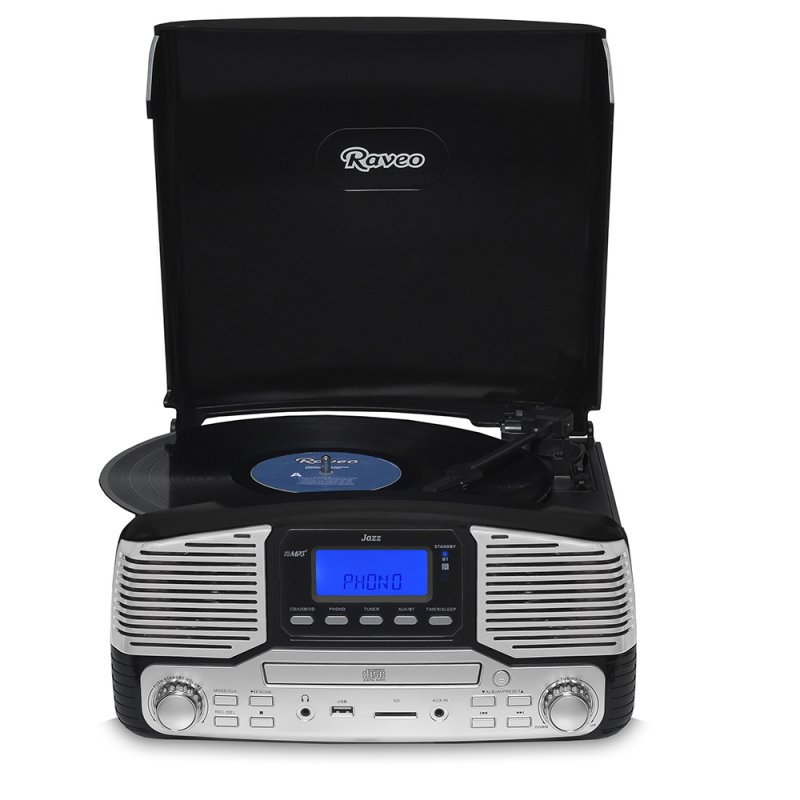 Toca Discos Raveo Jazz Preto Bluetooth USB e SD FM CD Player e Gravação Bivolt