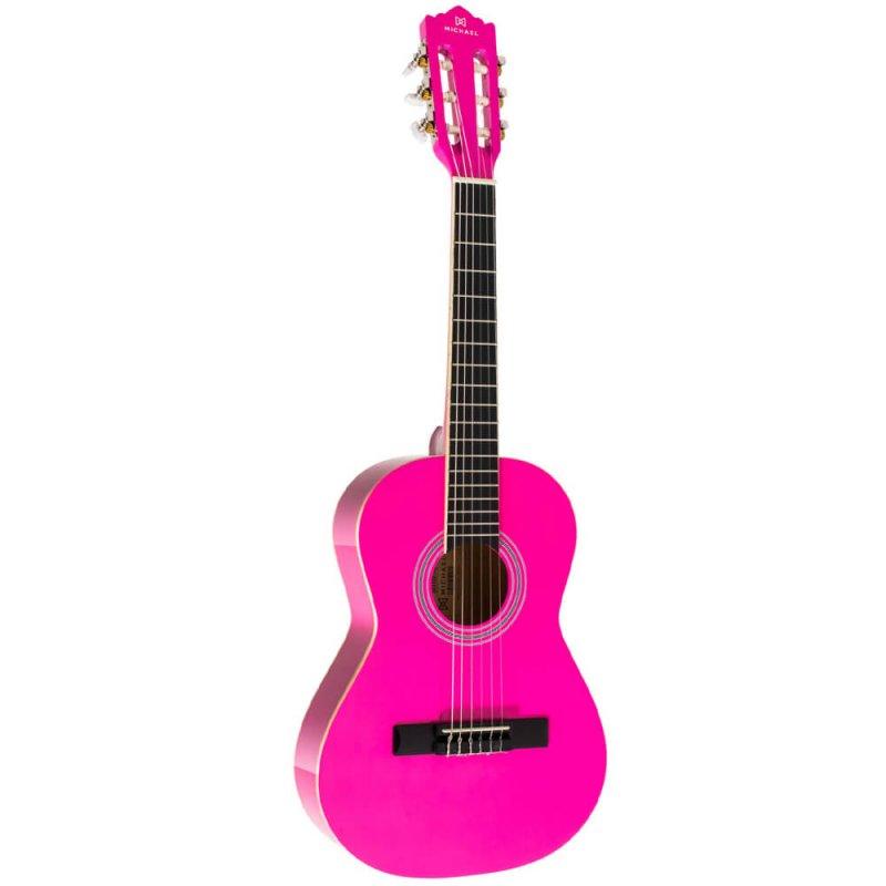 Violão Clássico Infantil Michael Antares VM14E PK Pink com 6 Cordas em Nylon