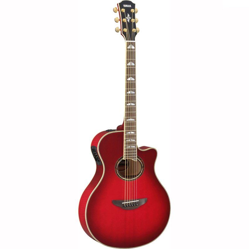 Violão Elétrico Yamaha Apx1000 Crimson Red Burst Cutway Corpo Fino Aço