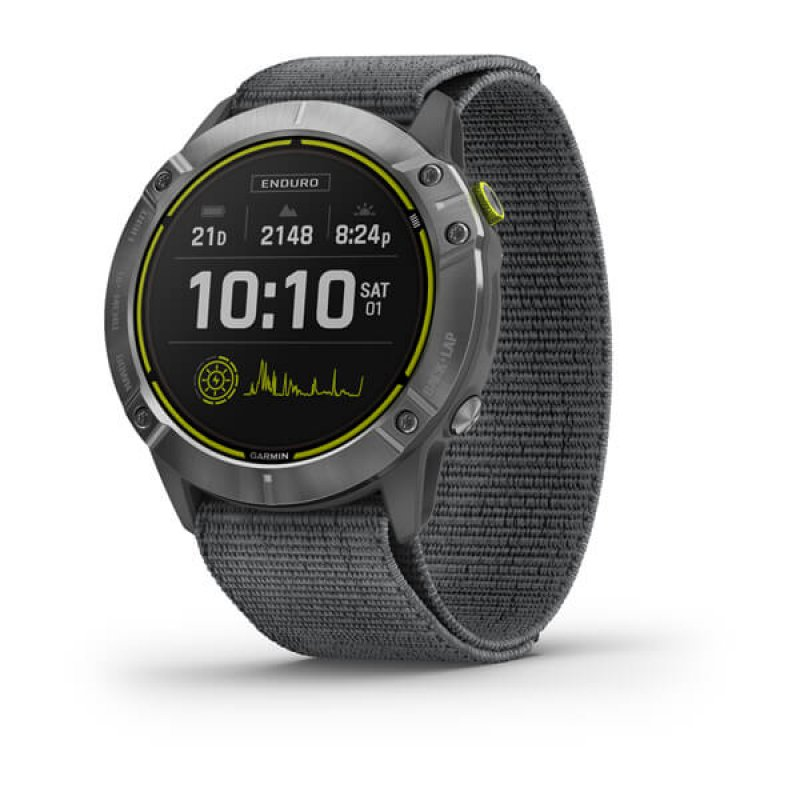 Monitor Cardiaco de Pulso com GPS Garmin Enduro Prata Pulseira Cinza Loop