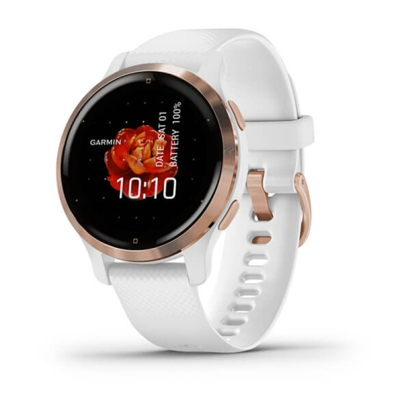 Monitor Cardiaco de Pulso com GPS Garmin Venu 2S Dourado Rose pulseira branca WW