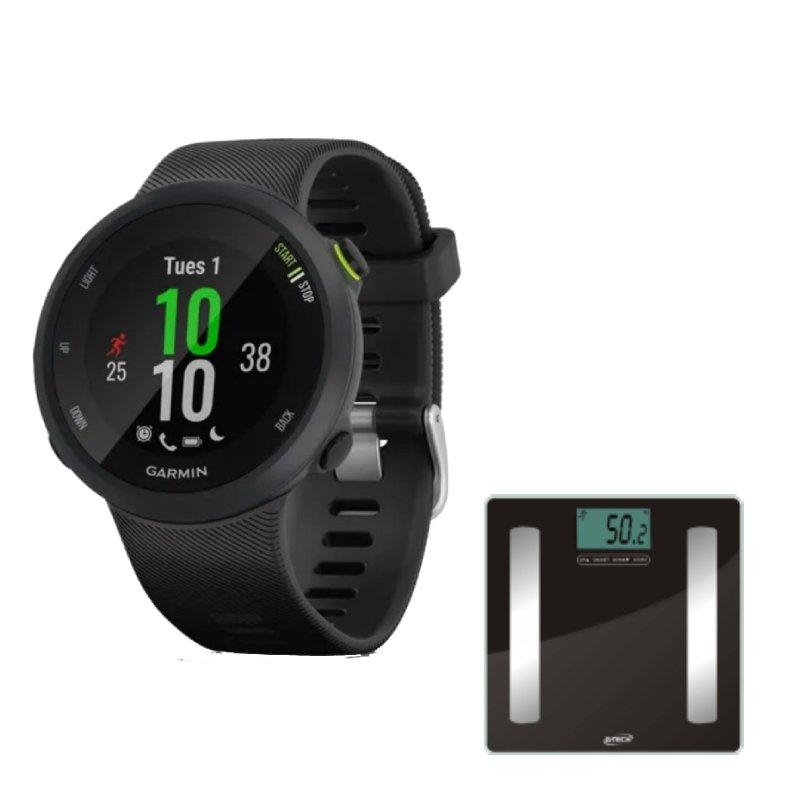 Combo Relógio Garmin Forerunner 45 Preto com GPS e Balança Digital Com Bioimpedância Glass Pro G-Tec