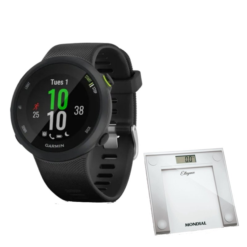 Combo Relógio Garmin Forerunner 45 Preto com GPS e Balanca Digital Mondial Branca BL 03