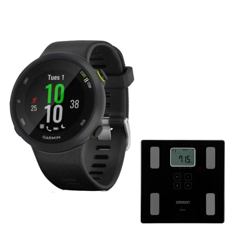 Combo Relógio Garmin Forerunner 45 Preto com GPS e Balança Digital Omron de Bioimpedância