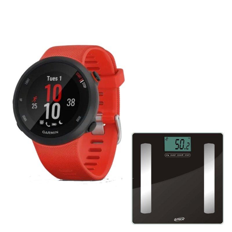 Combo Relógio Garmin Forerunner 45 Vermelho com GPS e Balança Com Bioimpedância Glass Pro G-Tech
