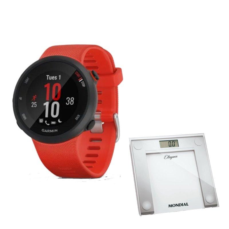 Combo Relógio Garmin Forerunner 45 Vermelho com GPS e Balanca Digital Mondial Branca