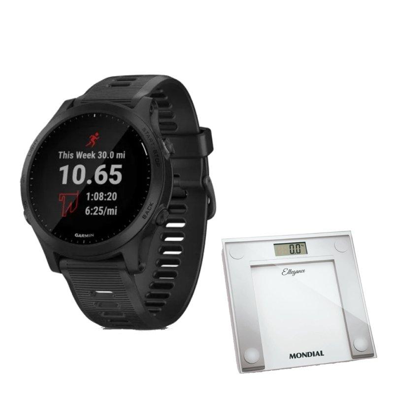 Combo Relógio Garmin Forerunner 945 Preto com GPS e Balança Digital Mondial Branca