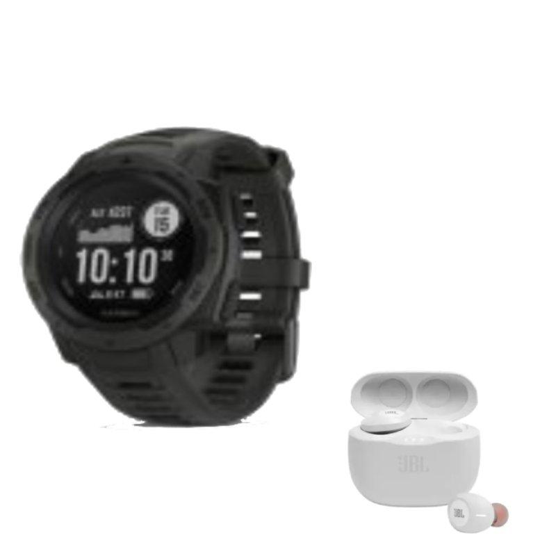 Combo Relógio Multiesportivo Garmin Instinct Preto e Fone de Ouvido JBL Tune 125TWS In Ear True Wire