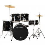 Compare Bateria Acústica Vogga Talent VPD918 BK acompanha 1 Banqueta e 1 Par de Baquetas