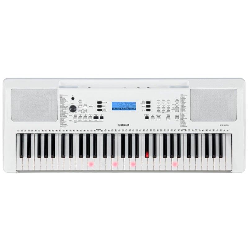 Teclado Portátil Yamaha EZ-300 com 61 Teclas Sensitivas Iluminadas Visor LCD Branco