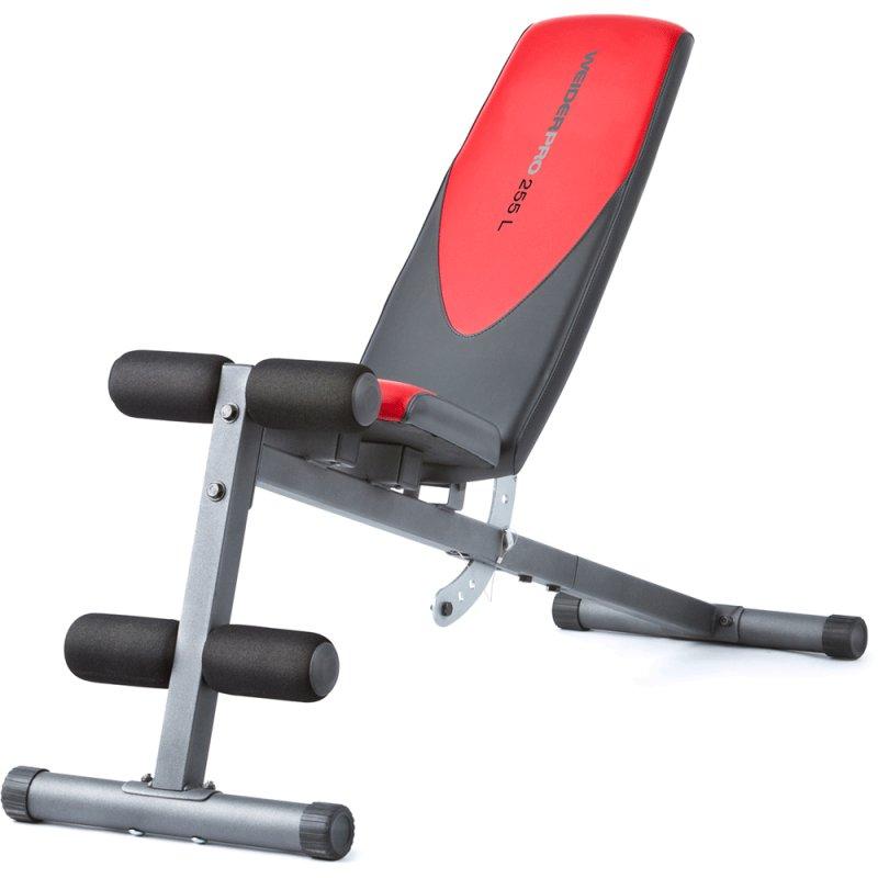 Banco de Musculação Weider 255L Até 120 Kg com 6 Níveis de Inclinação Cinza e Vermelho WEBE49310