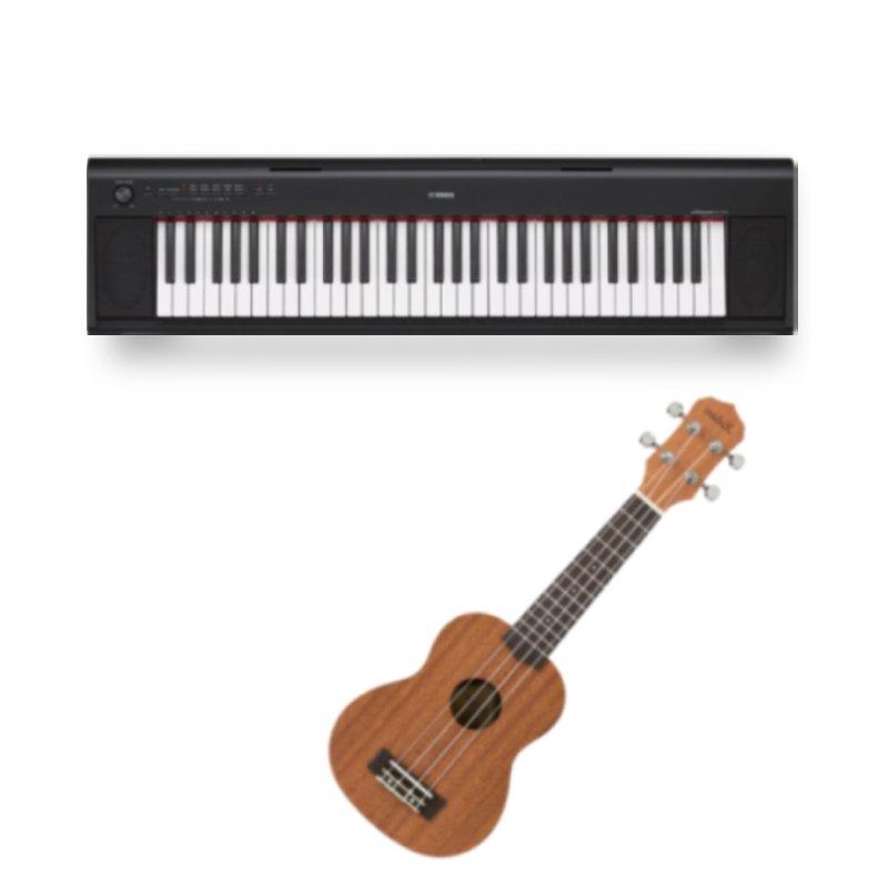 Combo Piano Digital Yamaha NP-12B Piaggero Preto e Ukulele Soprano 21 Kalani