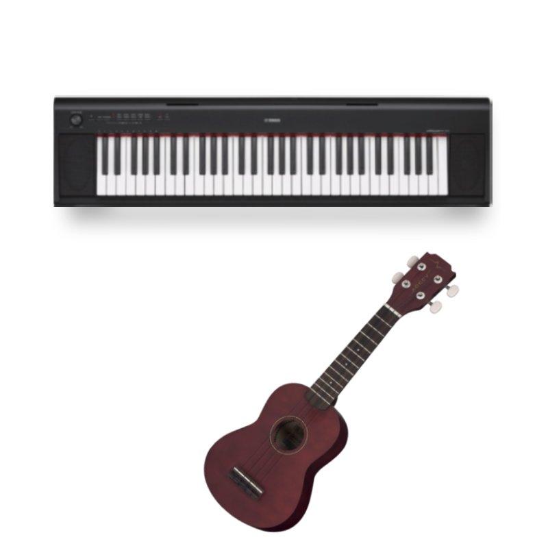 Combo Piano Digital Yamaha NP-12B Preto e Ukulele Acústico Vogga Fosco