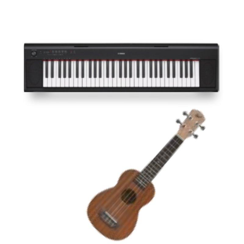 Combo Piano Digital Yamaha NP-12B Preto e Ukulele Soprano 21 Winner