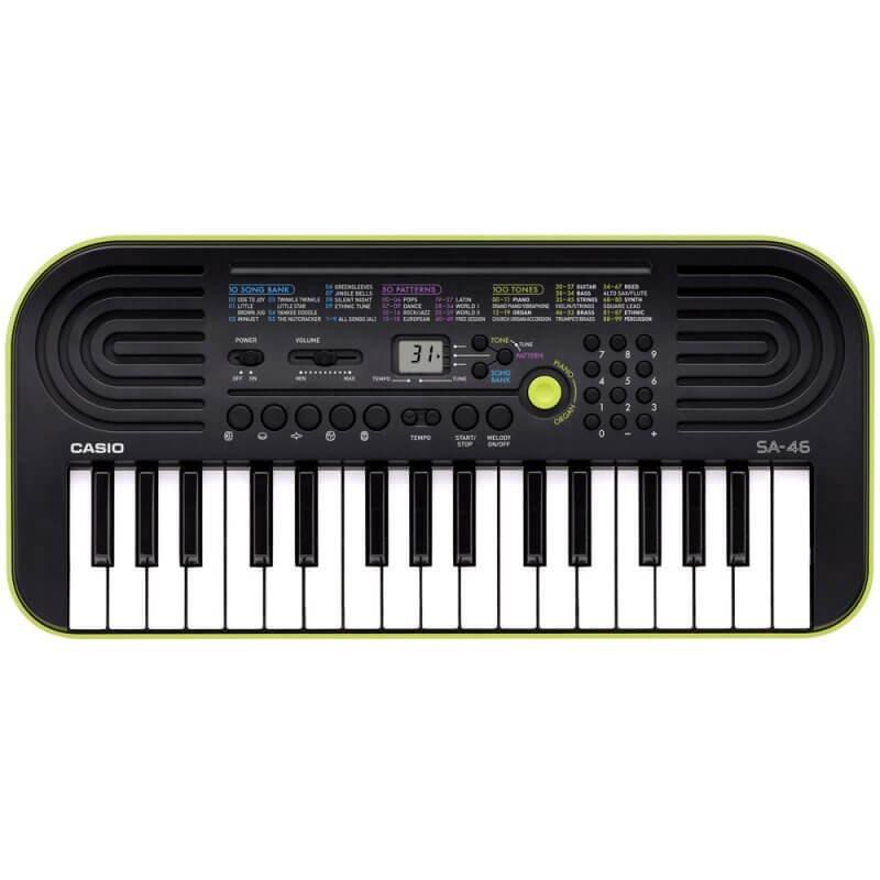 Teclado Infantil Casio SA 46 Preto e Verde com 32 Teclas 100 Timbres e Visor LCD