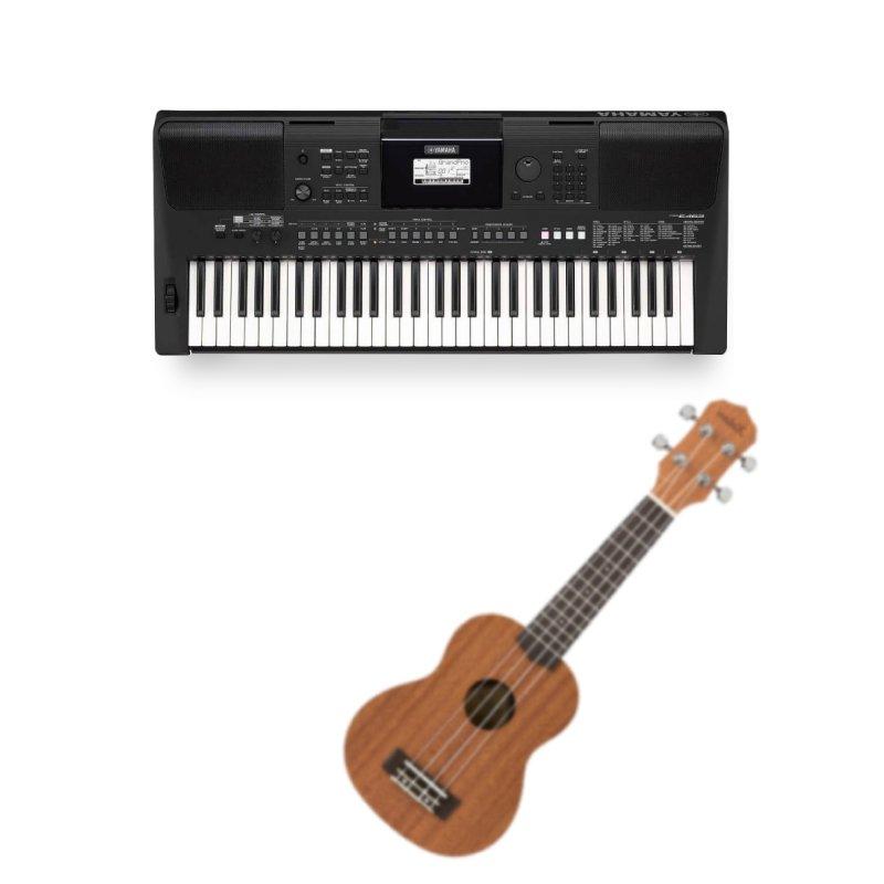 Combo Teclado Arranjador Yamaha PSR-E463 Preto Bivolt e Ukulele Soprano 21 Kalani