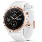 Relógio Multiesportivo Garmin Fenix 5S Plus Safira Branco e Dourado com Monitor Cardíaco no Pulso
