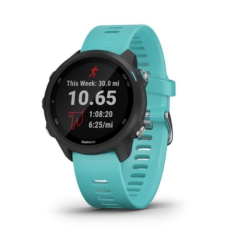 Relógio Esportivo Garmin Forerunner 245 Music Preto e Aqua com GPS e Monitor Cardíaco