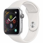 Apple Watch Series 4 GPS 44 mm Alumínio Prata Pulseira Esportiva Branca e Fecho Clássico