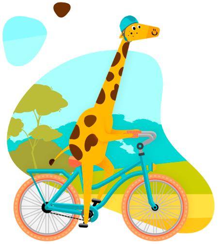 Girafa na bike